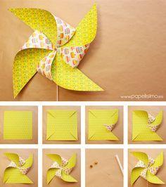 Como-hacer-molinillos-de-papel-que-gira-DIY–paper-Pinwheels How-to-make-paper-mills-that-turns-DIY – paper-Pinwheels Craft Activities, Preschool Crafts, Diy And Crafts, Crafts For Kids, Paper Crafts Origami, Diy Paper, Paper Art, Kids Origami, Summer Crafts