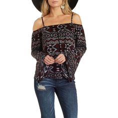 Charlotte Russe Dark Purple Combo Geometric Print Bell Sleeve Cold... ($22) ❤ liked on Polyvore featuring tops, dark purple combo, black cut out top, black embroidered top, bell sleeve top, cut out shoulder tops and cutout top