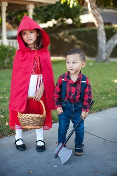 sibling costume idea // little red riding hood and the huntsman // diy costumes on a budget