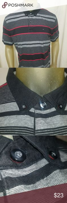 """Tommy Hilfiger Mens Polo Shirt XLarge Black Gray Tommy Hilfiger Mens Polo Shirt XLarge Black Gray Red XL Short Sleeve  Excellent Condition!  Chest 48""""  Length 27"""" Tommy Hilfiger Shirts Polos"""