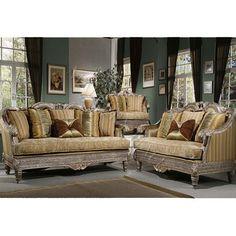 Distressed Trim Gold Fabric Sofa Set 3 Piece Living Room Sets