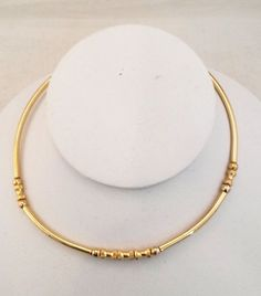 Vtg 1970s Round & Textured Barrel Bead Gold Tone Choker Wire Ring Necklace #NotSigned #RingChoker