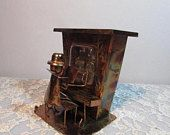 Vintage Copper Piano Player Music Box, Plays The Entertainer, c 1970, Metal Art