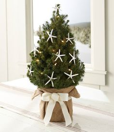 This small and cute table top Christmas tree is so simple yet elegant.