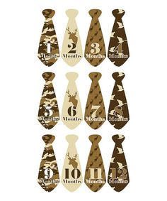 Month 2 Month Baby Hunter Tie Collection Monthly Sticker Set   zulily