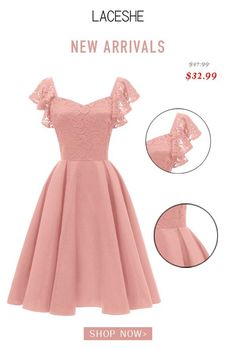 LaceShe Women's Elegant Cocktail A-line Lace Dress - Cocktails Cute Dresses, Vintage Dresses, Casual Dresses, Short Dresses, Girls Dresses, Formal Dresses, Pretty Dresses For Kids, Mein Style, African Fashion Dresses