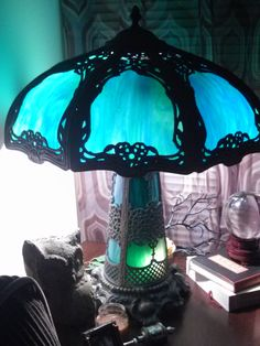 Art Nouveau Stained Slat Glass Tample Lamp, Peacock Blue to Turquoise to Kelly Green.