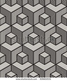 Vector seamless pattern. Modern stylish texture. Repeating geometric tiles. Linear monochrome cubes with volume effect. Hatched rectangular faces.
