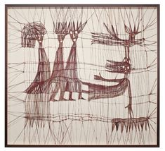 "Luba Krejci, thread drawing,  PRIMATIVE FIGURES BIRD AND INSECTS, knotted linen, 40.5"" x 44.5"" x 2"", circa 1970s"