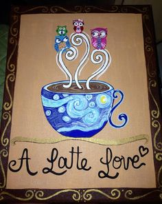 Hand Painted on 11x14 Canvas with Acrylics  Owls Cafe by ODsGirl, $30.00