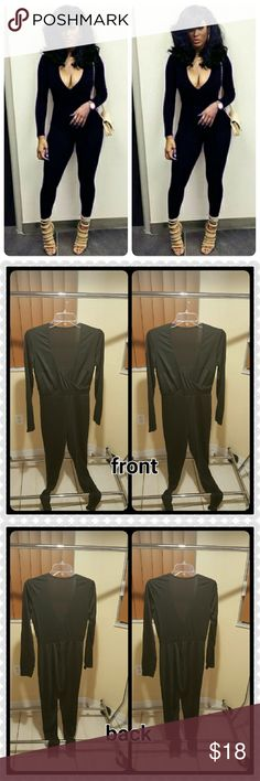 JUST IN. BLACK LONG SLEEVES JUMPSUIT 100% BNWOT. Good condition. Solid color black. Long sleeves. Fitted type skinny. Has some stretch. V neck.  95%polyester and 5% spandex. This is an Asian item which tends to run small.  Comes in small. medium . large. Price firm. No offers. unknown  Pants Jumpsuits & Rompers