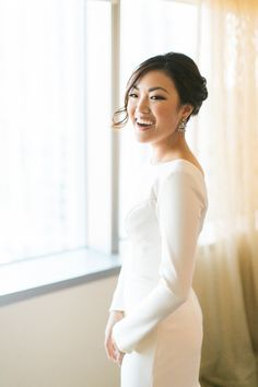 Photography : Ruth Eileen Photography | Hair + Makeup : Kelly Zhang | Wedding Dress : Atelier By Dawn Read More on SMP: http://www.stylemepretty.com/2016/01/21/downtown-l-a-wedding-with-rooftop-views/