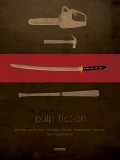 """Minimal movie poster // """"Pulp Fiction"""" by Quentin Tarantino Pulp Fiction, Fiction Movies, Poster Layout, Poster S, Poster Prints, Movie Prints, Best Movie Posters, Minimal Movie Posters, Minimalist Poster"""