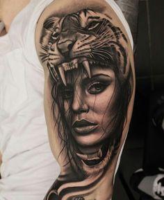 Tattoo done by: Dean Taylor tattoo #realismo #retrat #girl #tattoo #ink