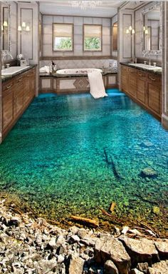 Home Discover Online Shop Decorative self adhesive floor painting wallpaper waterproof non-slip PVC sticker green lake 3d Floor Painting, Painting Wallpaper, Wallpaper Murals, Pintura Wallpaper, Bathroom Floor Wallpaper, 3d Floor Art, Custom Wallpaper, Bathroom Flooring, Dream Bathrooms