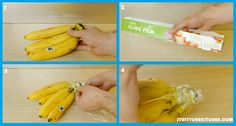 Wrap the banana root with cling film. The root of the banana releases gas which ripens the banana faster. This way the bananas will stay fresh and ripe at a slower rate.  For more hacks like this and many more follow the link in bio.   #stuffyourkitchen #kitchen101 #kitchen hacks