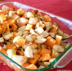 Fall Vegetable Bake - a different side dish for your Thanksgiving feast Fall Vegetables, Baked Vegetables, Vegetable Bake, Thanksgiving Feast, Food For Thought, Fruit Salad, Side Dishes, Potatoes, Baking