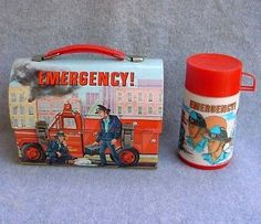 Vintage Emergency Dome Lunch Box Aladdin 1970's C8 Thermos Paramedics Lunchbox