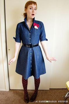 d166fe3391b lovely denim shirtdress w  self-fabric buttons