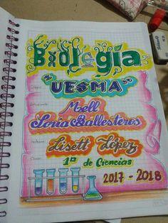 Biología Notebook Cover Design, My Notebook, Grammar Book, Back 2 School, Diy And Crafts, Presentation, Study, Scrapbook, Lettering