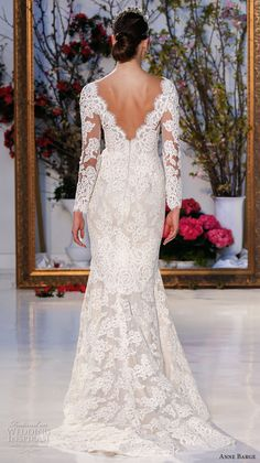 anne barge spring 2017 bridal embroidered lace long sleeves deep v neck line fully embellished beautiful lace mermaid wedding dress v back sweep train (014) bv