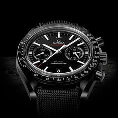 "The Apollo 8 astronauts were the first people to see the dark side of the moon with their own eyes. The black ceramic Co-Axial Speedmaster salutes their pioneering spirit and pays homage to the Speedmaster Professional chronographs worn by every Apollo astronaut OMEGA Speedmaster Moonwatch Co-Axial Chronograph ""Dark Side of the Moon"""