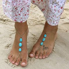 ONE PIECE Delicate Retro Style Water Drop Shape Faux Turquoise Decorated Women's AnkletAnklets | RoseGal.com
