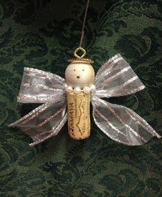 Wine cork angel ornament. www.facebook.com/recorkedllc by elena