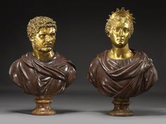 Two Italian porphyry, 'breccia di campidoglio' and gilt bronze busts of Caracalla and Thetis,  circa 1700 and later, probably Roman,   each with a red painted inventory number 253 and 254 respectively,   heights overall: 28 3/8 in. and 32 in.; 72 and 81.5 cm