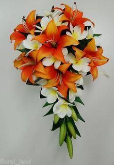 country wedding tiger lilies orange | Latex White Frangipani Tiger Lily Orange Bride Wedding Bouquet ...