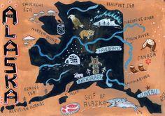 Alaska Map / Postcards of the 50 States project : Christiane Engel - Illustration Portfolio Gulf Of Alaska, Juneau Alaska, 50 States Of Usa, Geography Map, Map Design, Design Ideas, Cartography, Vintage Postcards, Travel Posters