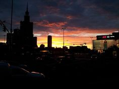 Sunset in the city center, Warsaw, Poland