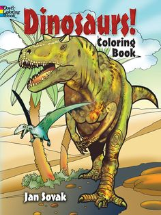 DINOSAURS! Coloring Book by Jan Sovak - Dover Publications <> 2 Sample COLORING PAGES