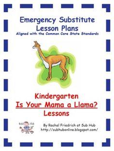 $. Kindergarten CCSS Emergency Sub Plans from Sub Hub