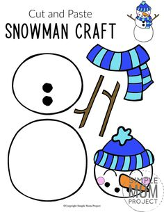 Do you want to build a frosty the snowman with your kids? Here's a simple cut Printable Templates, Printable Crafts, Free Printable, Printables, Preschool Crafts, Toddler Activities, Preschool Activities, Snowman Crafts, Cat Crafts