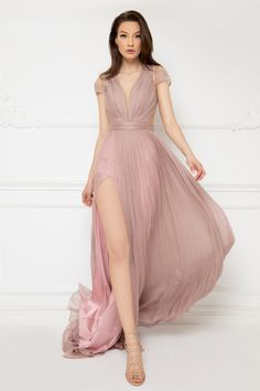 Cristallini - Embroidered Deep V-Neck Pleated A-Line Dress Pageant Dresses, 15 Dresses, Fashion Dresses, Pink Dresses, Illusion Dress, Light Pink Color, Pleated Bodice, Stunning Dresses, Sheer Dress
