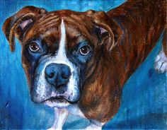 Kato the Brindle Boxer by Painted Paws Studio #boxer #dogart #painting #brindle