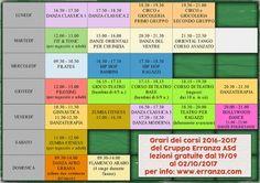 Gruppo Erranza ASD - Orario Ufficiali delle lezioni di Canonica d'Adda