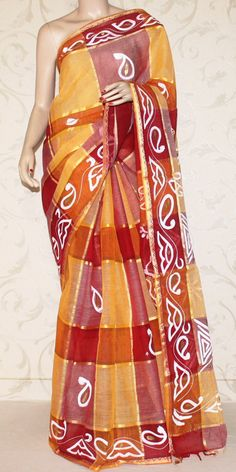 Bengal Handloom Cotton Saree (Hand printed) 10637 Bengali Saree, Hand Painted Sarees, Cotton Sarees Online, Indian Look, Saree Styles, Color Shades, Exclusive Collection, Indian Dresses, Designer Collection