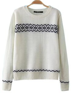 Vintage Geometry Print Long Sleeve Round Neck Knitting Pullover Sweater