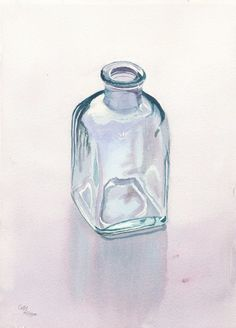 Glass Bottle Art Original Watercolor Painting by Cathy Hillegas, watercolor still life, 10.5x14.5, teal, purple, green