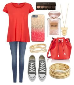 """Coral&Gold"" by jaders711 ❤ liked on Polyvore featuring 7 For All Mankind, Splendid, Converse, Michael Kors, Maison Margiela, Nanette Lepore, Gorjana and Giorgio Armani"