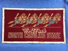 Adrian Brashier  adrianbrashier  on Pinterest Vintage 1940 s   50 s NC State Baseball Pennant  North Carolina State Wolf  Pack From Orth