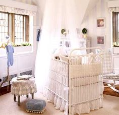 All the different patterns in lavender and white give this nursery interest and softness.  Beautiful attention to detail.