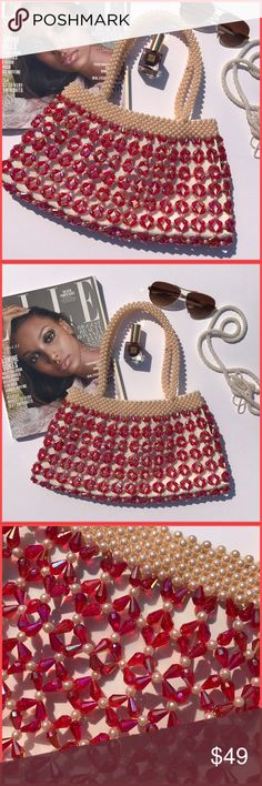 Hand beaded! This delicately hand beaded bag is such a red carpet piece. Summer chic, pops with every outfit and just looks so elegant yet so fun. Bought this on at a boutique in Miami. Never used brand new Miami Boutique Bags