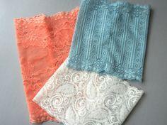 Three Lace Boot Cuffs - White - Blue - Peach