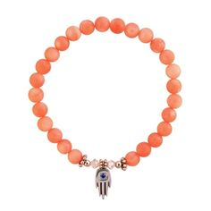 This elastic Evil Eye bracelet is made of Coral Stone beads and a stainless steel Hand of God Hamsa with the blue lucky eye.  The lucky eye and The Hamsa (Hand of God) are powerful talismans to ward off the evil eye.