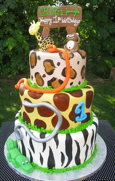Safari Inspired Cake Achilles first birthday cake idea