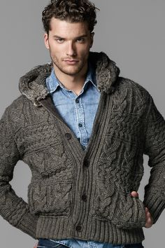 Woollen jacket with fur in hood goes well with a denim shirt!