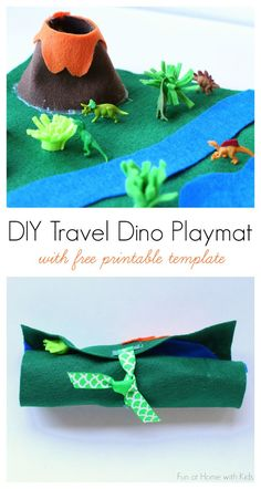 Make a DIY Travel Dino Playmat in about 15 minutes using this FREE printable template. Great for entertaining kids on the go, especially in places where they need to wait, like for an appointment! One of several fun ideas shared as part of @oscarmayer's #sanewich campaign! #sponsored